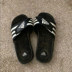Black Adidas slides